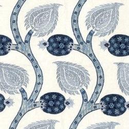 F. Schumacher - Nurate Embroidery Fabric, Lapis - 2 Yard Minimum Order.