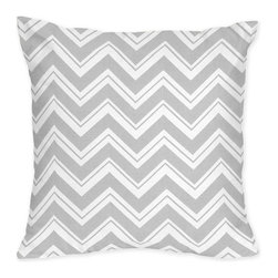 Sweet Jojo Designs - Sweet Jojo Designs Grey Chevron Zigzag Throw Pillow - Add the finishing touch your couch needs with this decorative square throw pillow. The pillow is decorated with an alternating white and gray chevron design, providing a contrasting look with most furnishings that adds to the appearance of the room.