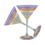 Golden Hill Studio - Mosaic Garland Martini Set of 2 - There's a pattern here. You love sophisticated and fun art, so your martini glasses would just naturally follow suit. It's all part of a grand plan to totally enchant your guests.