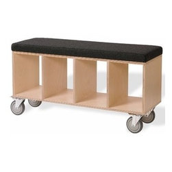 Offi - Offi | Bench Box with Casters - Upholstered Seat - Make your own window seat with this rolling cart that works as both a bench and a bookshelf.