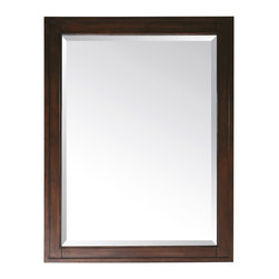 None - Avanity Madison 24-inch Mirror in Tobacco Finish - The Madison poplar framed mirror features a tobacco finish with strong decorative lines. Available in three dimensions,the mirror hangs horizontally and vertically.