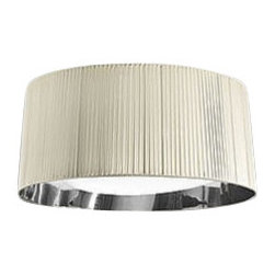 """Axo - Axo Obi ceiling lamp - UP OBI - The Obi ceiling lamp (UP OBI) from Axo was designed by Manuel Vivian and made in Italy. The Obi ceiling lamp is for indoor installation and is available as a table, floor, pendant and wall fixture. This collection has chromeplated fittings, the lampshades and the canopies consist of silken ribbonsand of a semi-reflecting chrome-plated finished sheet inside.    Products description: The Obi ceiling lamp (UP OBI) from Axo was designed by Manuel Vivian and made in Italy. The Obi ceiling lamp is for indoor installation and is available as a table, floor, pendant and wall fixture. In the ivory and black versions the lampshades have a semi reflecting chrome plated finished sheet inside. In the white and tobacco version the lampshades have a white stiched interior instead of the semi reflecting chrome plated one. The canopies are coordinated with the lampshades. Details:                         Manufacturer:                         Axo                                         Designer:                         Manuel Vivian                                         Made  in:            Italy                            Dimensions:                         Height: 11"""" (28cm) X Width: 24.8"""" (63cm)                                                     Light bulb:                                      3 X 100W E26 Incandecent or             3 X 20W E26 Flourescent                                         Material                         Metal, fabric"""