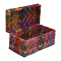Modelli Creations - Chindi Box - Looking for a colorful and fun way to add storage? These boxes made of iron and recycled fabrics woven into Chindi Rope can serve as the perfect toy box or treasure chest for a kids room or vibrant storage trunk for your bohemian home.