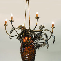 "Meyda Lighting - Meyda Lighting 29.5""W Pinecone 5 Arm Chandelier 12363 - A Large Lighted Pinecone Constructed Of Hand Cut Bark Brown Granite Glass Is Adorned With Pine Bough Covered Arms That Terminate In Elegant Simulated Wax Candles. This Handsome Five Arm Chandelier Has An Antique Copper And A Rustic Lodge Appeal. All Metal Work Is Hand Crafted In The USA By Meyda Artisans."
