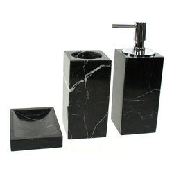 Gedy - Black Marble Bathroom Accessory Set in 3 pieces, - Luxurious black marble bathroom accessory set perfect for a modern bathroom. Designed in Italy from the Gedy Posseidon collection. Set includes toothbrush holder, soap dish, and soap dispenser. Available in black finish. Made from marble. From the Gedy Posseidon collection. Designed and built in Italy. Included in set:. Soap dish Gedy AN11-14. Toothbrush holder Gedy AN98-14. Soap dispenser Gedy AN81-14.