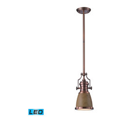 Elk Lighting - EL-66712-1-LED Chadwick LED 1-Light Pendant in Medium Oak and Antique Copper - The Chadwick Collection reflects the beauty of hand-turned craftsmanship inspired by early 20th century lighting and antiques that have surpassed the test of time. This Robust Collection features detailing appropriate for classic or transitional decors. Finishes include polished nickel, satin nickel, antique copper and oiled bronze.�Various diffuser options, including glass, metal, and wood printed metal shades, allow for adaptability to almost any design scheme. - LED offering up to 800 lumens (60 watt equivalent) with full range dimming. Includes an easily replaceable LED bulb (120V).