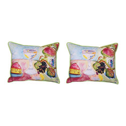 """Betsy Drake - Pair of Betsy Drake """"Wine and Cheese"""" Indoor/Outdoor Pillows - This wonderful pair of """"Wine and Cheese"""" print indoor/ outdoor pillows are from Betsy Drake Interiors. Proudly made in the USA, each pillow features a wonderful watercolor still life wine glass and cheese, based on original artwork by Betsy Drake or her husband, R.B. Hamilton. Each pillow measures 16 inches tall, 20 inches long has a 100% polyester cover, which resists fading and wear, giving you years of use, and is stuffed with polyester. Recommended care instructions are to spot clean, only. They are a great addition to you decor, if you love wine."""