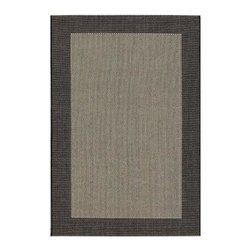 Direct Home Textiles - Indoor/Outdoor Area Rug: Simple Border Black 8' x 11' - Shop for Flooring at The Home Depot. One of todays most popular and versatile area rugs, this densely woven rug has been specifically manufactured for outdoor use, but is also ideal for indoor decors. Its constructed of 100% polypropylene surface yarns which are naturally resistant to stains. This rug is ideal for use on patios, screened in porches, kitchens, playrooms, dens and college dorms. Possibly one of todays most versatile patterns, this simple border design features an inner woven texture accented by an outside border. This design is available in black or brown and can be used in contemporary, transitional and floral decors as well as accenting traditional furniture and accessories.