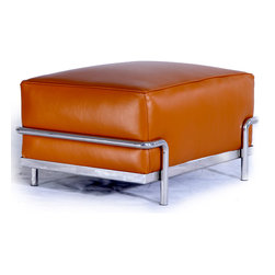 """Kardiel Le Corbusier Style LC3 Ottoman, Caramel Aniline Leather - Complete the reproduction of LC3 Sofa Set with the matching Ottoman. Often hard to find, the LC3 ottoman accessory is created with the highest accuracy of detail to the original. Now you can have your own version of one of the most influential designer icons of the 20th century. The Le Corbusier sofa set series was originally designed in 1928 for the Maison La Roche house in Paris. The design is the modernist response to the traditional club chair. The series comes in a smaller version referred to as the LC2 and a larger version known as the LC3 considered more appropriate for practical living purposes. Remarkably comfortable, Le Corbusier often referred to the pieces as """"cushion baskets"""". A striking feature of the LC3 is the externalized metal frame supporting the base, extending as the legs and running the entire length of the piece. Its not just the front of the LC3 that is attractive, the metal frame work means design detail from the sides and back allowing for easy placement even in the middle of a room. The Le Corbusier LC3 set is often used in a group of 2 chairs (1 seat version) and a single sofa or love (2 or 3 seat versions). Kardiel offers the highest quality Le Corbusier LC3 Grande' reproduction on the market. We specialize in this series and understand fully the intricacies of the original design. From the supple Genuine Aniline leather to the plump generously filled and wrapped cushions, our full list of features means you don't have to settle for an inferior reproduction. You also don't have to pay more. With Kardiel's signature reproduction, you can have your own version of the Le Corbusier LC3 Grande series. Compare this reproduction anywhere for its highest standard of exacting detail. The accuracy of this LC3 Grande reproduction is second to none."""