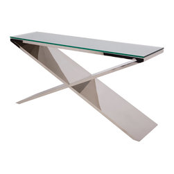 "Nuevo Living - Prague Console Table, Large - You'll have style on — and by — your side with this contemporary table. It features a distinctive ""X"" base wrapped with polished stainless steel. Available with or without the thick glass top, it's a great way to add distinctive flair and shine to your room."