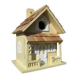 "Home Bazaar Inc - Country Cottage Birdhouse, Yellow - The Country Cottage Birdhouse will remind you of a lakeside vacation home. Constructed of exterior grade ply-board, pine roof shingles and poly resin for detail and decorations. The swing-up mounting peg makes installation a snap. With a 1 1/4"" opening, removable back wall, drainage, ventilation and an unpainted interior, there's no mistaking that this is a fully functional birdhouse."