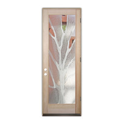 Sans Soucie Art Glass (door frame material T.M. Cobb) - Glass Front Entry Door Sans Soucie Art Glass Branches 2D - Sans Soucie Art Glass Front Door with Sandblast Etched Glass Design. Get the privacy you need without blocking light, thru beautiful works of etched glass art by Sans Soucie!  This glass is semi-private.  (Photo is view from outside the home or building.)  Door material will be unfinished, ready for paint or stain.  Bronze Sill, Sweep and Hinges. Available in other finishes, sizes, swing directions and door materials.  Dual Pane Tempered Safety Glass.  Cleaning is the same as regular clear glass. Use glass cleaner and a soft cloth.