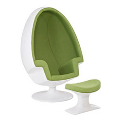 """LexMod - Alpha Lounge Chair in Green - Alpha Lounge Chair in Green - The unconventional shape and construction of the Alpha Shell Egg Chair makes it perfect for sound isolation, a cozy quiet area to sit and read. Its chamber-like shape and upholstered interior cancels out most outside noise, providing a unique environment for meditation, relaxation or just getting away from it all. Set Includes: One - Alpha Shell Egg Chair One - Matching Ottoman Fiberglass Shell, Poly - Cotton Interior, Noise Canceling Interior Overall Product Dimensions: 30""""L x 38.5""""W x 59""""H Seat Dimensions: 20""""L x 18.5""""W x 15""""H Armrest Height: 24.5""""HBACKrest Dimensions: 42.5""""H Ottoman: 14""""L x 21""""W x 14.5""""H - Mid Century Modern Furniture."""