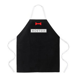 Attitude Aprons - Attitude Apron 'Hostess' Apron - Call attention to yourself with this hostess kitchen apron during your next party or event. With the word hostess boldly written on a black background let your guests see who is in charge. This apron is machine washable and fits most sizes.