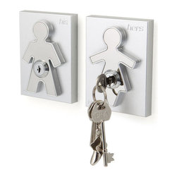 j-me design - His and Her Key Holders, His and Her Keyholder - The contemporary design of the His and Her Key Holders incorporates a male and a female form, which is raised up against its background forming an interesting design aspect and clearly identifying who's keys are whose!