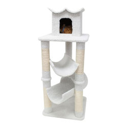 "Majestic Pet Products - 47"" Bungalow - Sherpa - Majestic Pet Products 47"" Casita Cat Tree is covered in elegant honey colored Faux Fur with Sisal Rope wrapped posts that will withstand the toughest claws. This beautiful playground features first and second story perches for stretching out and relaxing plus a third story residence for getting away from it all. Our"" Casita Cat Tree assembles in minutes with simple step by step instructions and tools provided."