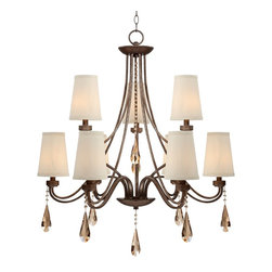 """Possini - Crystal Possini Jayce 32"""" Wide Champagne Crystal Chandelier - This wonderful 2-tier champagne crystal chandelier will bring elegance to a dining room or entry way. Antique bronze finish arms gleam among nine lights and dazzling clear crystal accents. Cream color shades add a soft touch to this already elegant design. Antique bronze finish. Champagne crystal accents. Cream clip shades. Takes nine 40 watt candelabra bulbs (not included) 32"""" wide and 36 1/2"""" high. Shades are 3 1/2"""" across the top 5"""" across the bottom and 7"""" high. Includes 12  foot cord and 6 foot chain. Round canopy is 6 1/2"""" wide. Hang weight is 17 lbs.  Traditional Possini chandelier.  Antique bronze finish.   Champagne crystal accents.   Cream clip shades.   Use this large chandelier in a foyer or dining room.  Takes nine 40 watt candelabra bulbs (not included).   32"""" wide and 36 1/2"""" high.   Shades are 3 1/2"""" across the top 5"""" across the bottom and 7"""" high.    Includes 12 foot cord and 6 foot chain.   Round canopy is 6 1/2"""" wide.   Hang weight is 17 lbs."""
