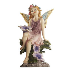 EttansPalace - Classy Pixie Garden Fairy Sculpture - Appearing to have flown in on the wings of a dream, these exquisite pixie figurines are hand-painted in the softly muted tones that make any garden glow! Our exclusive and winsome garden gifts strike playful poses cast in quality designer resin.