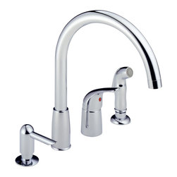 Delta Single Handle Widespread Kitchen Waterfall with Soap Dispenser - P188900LF - With the full line of Delta(R) kitchen faucets, it's easy to find just the right touch for your kitchen.