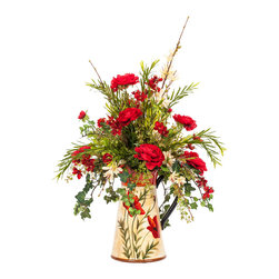 Red and Cream Silk Floral Arrangement in a Poppy Pitcher - Get the look of fresh-cut flowers with the convenience of low maintenance perfection that won't ever wilt. Red and cream silk florals burst out of their colorful poppy pitcher, adding a beautiful punch of color to your home.