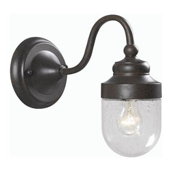 World Imports - Dark Sky 1 Light Outdoor Wall Lamp w Glass Sh - Manufacturer SKU: WI 9071S89. Bulbs not included. Aluminum and Brass construction. Clear Seedy Glass. Great for use indoors and out doors. Bronze Finish. Dark Sky Collection. 1 Light. Power: 60W. Type of bulb: Medium (Regular). Bronze finish. 9 in. Ext.. Back Plate 5 in. D. Glass diameter 3.5 in.. 5 in. W x 9.5 in. H (4 lbs.)Hospitality exudes from inside your home to the outdoors with the new Nichols Road Collection. Reminiscent of New Orleans courtyard making guests feel they are in the heart of the old city.