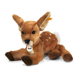 Steiff - Steiff Rieke Dangling Fawn Deer - Steiff Rieke Dangling Fawn Deer is made of cuddly soft brown woven plush. Machine washable. Ages 3 and up. Handmade by Steiff of Germany.