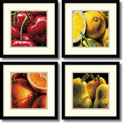 Amanti Art - Alma'Ch 'Fruit- set of 4' Framed Art Print 15 x 15-inch Each - With these bright and bold close-ups of fruit, Italian artist Alma'Ch makes the mundane, spectacular.