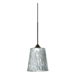 "BESA Lighting - BESA Lighting 1XC-5125SF Nico 1 Light Halogen Cord-Hung Mini Pendant - Nico 4 features a tapered drum shape that fits beautifully in transitional spaces. Our Stone Silver Foil glass is a clear blown glass with an outer texture of coarse sandstone, with distressed metal foil hand applied to the inside. Inspired by the elements of nature, the appearance of the surface resembles the beautiful cut patterning of a rock formation. This blown glass is handcrafted by a skilled artisan, utilizing century old techniques that have been passed down from generation to generation. Each piece of this decor has its own artistic nature that can be individually appreciated. The 12V cord pendant fixture is equipped with a 10' coaxial cord with teflon jacket and an ""Easy Install"" Dome monopoint canopy.Features:"