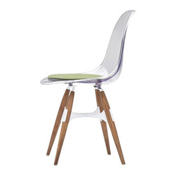 Kubikoff - ZigZag Chair, Red, Fuchsia Seat Pad, White Metal Cross, Stained Walnut Wood Legs - ZigZag Chair