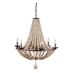 Zuo - Bali Metal Chandelier - The Bali Metal Chandelier is truly a unique sight.  This metal chandelier is a rust color and the beads are a shell color making a perfect combination for your space.  The six bulb chandelier will light up any living area or dining area and create a cozy space with the perfect ambient lighting.