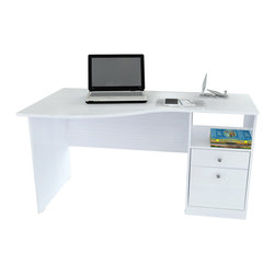 Inval America - Curved Top Desk - This desk would be a wonderful addition to any home office. It is stylish and functional with a curved top and accessory drawer .