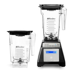 "Blendtec - Blendtec HP3A Blender WildSide Combo - Black Base - Heavy-duty 1560 watts direct drive motor, commercial quality. 13 Amps. Computer controlled blend cycles make perfect drinks with one-touch operation. HP3A Base with Touch Pad controls. Six (6) Pre-programmed blend cycles, 25 total settings. Manual mode - 10 speeds. Six pre-programmed blend cycles. An exclusive Smart-Touch Tec-nology which means when a cycle button is pushed, the HP3A Blender automatically speeds up and slows down, then shuts off when the cycle is complete, so recipes turn out perfect every time. The HP3A blender has up to 25 pre-programmed settings for ice cream, smoothies, whole juice, ice crushing, soups, syrups, sauces, dips, dressings and batters. Manual speed control Manual Pulse control. Blue LCD display shows count. Solid state electronics and sleek touchpad ensure long life, dependable performance and easy to clean. Metal to metal driver contact for maximum durability. Lid with removable center piece adding ingredients while blending. Recipe book BPA-free 2 qt. capacity container with 3"" blade. BPA-free WildSide large capacity pitcher with 4"" blade. Square design with the fifth side takes blending to the extreme  Single-prong patented wingtip 4"" blade New precision tuned 4"" blade in the large nearly 3-quart total capacity BPA-free jar. The new large blade / large jar combination powers through tougher blending tasks and larger recipes with ease, and in less time. Durable BPA-free copolyester will stand up to heavy use. Ergonomic design allows for easy 3-way Pouring. Easy-open gripper lid allows ingredients to be added through center opening and vents pressure when blending hot liquid. Dimensions: 7.5"" W x 15.5"" H x 8"" DFull 7-year manufacturer's warranty. Designed and Assembled in the USA."