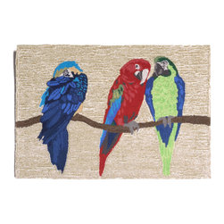 """Trans-Ocean - 24""""x36"""" Frontporch Parrots Bright Mat - Richly blended colors add vitality and sophistication to playful novelty designs.Lightweight loosely tufted Indoor Outdoor rugs made of synthetic materials in China and UV stabilized to resist fading.These whimsical rugs are sure to liven up any indoor or outdoor space, and their easy care and durability make them ideal for kitchens, bathrooms, and porches. Made in China."""