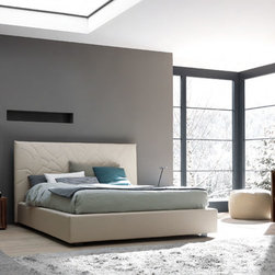 SMA Mobili Loto Modern Bedroom Set - Featuring padded headboard with decorative stitching and Wenge case goods, the Loto Italian Bedroom provides modern elegance and functionality. Eco-Leather is available in different colors.