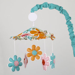 Cotton Tale Designs - Lizzie Musical Mobile - A quality baby bedding set is essential in making your nursery warm and inviting. Cotton Tale uses quality materials and unique designs to create your perfect nursery. Part of the Lizzie collection this mobile with its ruffled canopy in bright floral and dancing daisies. Turquoise arm cover. Wind up musical box plays Brahmans lullaby. Spot clean only. Mobiles are not toys and should be removed from the crib when baby can sit up unassisted.