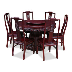 China Furniture and Arts - 48in Rosewood Dragon Design Round Dining Table with 6 Chairs - This exquisite round dining table set is intricately carved in dragon motif, symbolizing prosperity and good luck in Chinese culture. Completely handmade in solid rosewood by artisans in China, using the traditional joinery technique for long lasting durability. One removable lazy Susan is included for your convenience. Hand applied dark cherry finish.