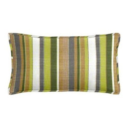 """Cushion Source - Sunbrella Carousel Limelite Outdoor Lumbar Pillow - The 20"""" x 12"""" Sunbrella Carousel Limelite Outdoor Lumbar Pillow features various-sized stripes in a natural palette of palm, chartreuse, beige, white, and gray."""
