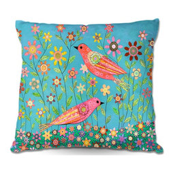 DiaNoche Designs - Pillow Linen - Sascalias Bohemian Birds - DiaNoche Designs works with artists from around the world to create astouding and unique home decor products.  Add a little texture and style to your decor with our Woven Linen throw pillows.  The material has a smooth boxy weave.  Each pillow is machine loomed, then printed and sewn ALL IN THE USA!!!  100% smooth poly with cushy supportive pillow insert with a hidden zip closure. Dye Sublimation printing adheres the ink to the material for long life and durability. Double Sided Print, machine wash upon arrival for maximum softness. Product may vary slightly from image.