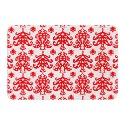 "KESS InHouse - Miranda Mol ""Ornate Trees White"" Red Holiday Memory Foam Bath Mat (17"" x 24"") - These super absorbent bath mats will add comfort and style to your bathroom. These memory foam mats will feel like you are in a spa every time you step out of the shower. Available in two sizes, 17"" x 24"" and 24"" x 36"", with a .5"" thickness and non skid backing, these will fit every style of bathroom. Add comfort like never before in front of your vanity, sink, bathtub, shower or even laundry room. Machine wash cold, gentle cycle, tumble dry low or lay flat to dry. Printed on single side."