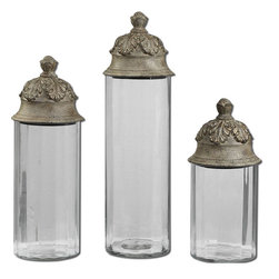 Uttermost - Acorn Glass Cylinder Canisters, Set of 3 - Clear Glass Cylinders Topped With Textured Brown Lids With A Heavy Tan Glaze. Not Recommended For Food Storage. Sizes: Sm-6x14x6, Med-6x18x6, Lg-6x21x6