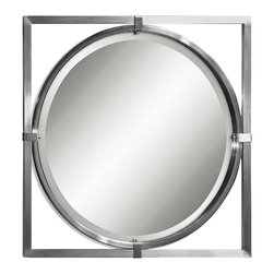 "Uttermost - ""Uttermost Kagami Mirror 1.5 x 30 x 30"""", Silver"" - ""This contemporary mirror features a metal frame with a brushed nickel finish. Mirror has a generous 1 1/4"""" bevel.Designer: Carolyn KinderDimensions: 1.5"""" depth by 30"""" width by 30"""" heightMaterial: metal"""