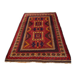 Red Geometric Old Afghan Rug 100% Wool 3'X6' Hand Knotted Persian Rug SH6901 - This collections consists of well known classical southwestern designs like Kazaks, Serapis, Herizs, Mamluks, Kilims, and Bokaras. These tribal motifs are very popular down in the South and especially out west.