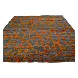 9x12 Wool and Sari Silk Hand Knotted Oriental Rug Abstract Design Orange Sh18623 - Our Modern & Contemporary hand knotted rug collection contains some of the latest designs in the industry. The range includes geometric, transitional, abstract, and modern designs; from the Tibetans to the Gabbeh. We offer an entire line of contemporary designs, whether you're searching for sophisticated and muted to the vibrant and bold.