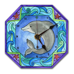 Dolphin Wall Clock - The Dolphin Clock is hand made in our studio, from a print of an original watercolor. The print is dry mounted onto black foam board and heat-sealed with a protective laminate. It looks just like tile but is so light it can be hung on a pushpin, so there's no need to put a nail in your wall. It has a hanger on the back and comes in a gift box. The quartz movement runs on a single AA battery. (Be sure to look for our Dolphin alarm clock and Ocean Magnets, too!)