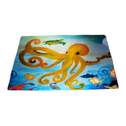 xmarc - Sea Life Area Rug From My Art, Yellow Octopus - Yellow octopus area plush area rugs from original art. Tropical fish, octopus, jellyfish, blue crabs and more.