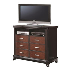 Coaster - Coaster Josephina Six Drawer Media Chest - Coaster - Chests - 202236 - Accommodating all your entertainment needs without sacrificing beauty and style, this media chest offers two open compartments for DVD players and gaming components and a spacious top panel for your TV set. Six lower drawers provide plenty of extra storage space for disks, games, manuals and miscellaneous items. Contrasting cherry and mocha finishes create a bold look accented by gleaming rectangular metal drawer pulls. Flawlessly blending fashion and function, this media chest is a must-have item.
