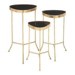 Stylish and Classy Metal Glass Accent Table, Set of 3 - Description: