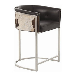 Arteriors Home - Arteriors Home Calvin Leather/Hide/Polished Nickel Low Barstool - Arteriors Home - If you invite guests to pull up a seat and they pull up this one, they may never go home. It's much more than a barstool, it's an easy chair on steroids. The leather upholstery is stylish and elegant. The low back and curved box-style seating supports and cushions your body. Elevate your decor while you elevate your body.