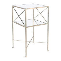 Worlds Away - Worlds Away Two Tier Square Side Table With Silver Leaf - Two Tier Square Side Table with Silver Leaf by Worlds Away