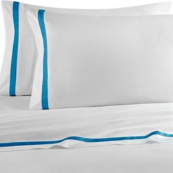 "Laundry By Shelli Segal - Laundry by Shelli Segal Blue Riviera Sheet Set - Finish your bed in sweet, soft luxury with the Blue Riviera sheet set. The white flat sheet and pillowcases are trimmed with a 1"" blue decorative ribbon on the cuff that will give your bed a lovely, sophisticated look."